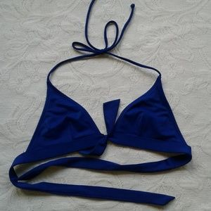 Victorias Secret Bikini Top Halter Blue Triangle S